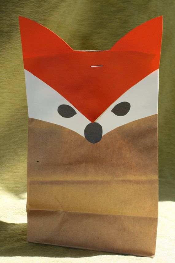 Party favor bag Fox set of 6 by Whimsywerks on Etsy, $5.00