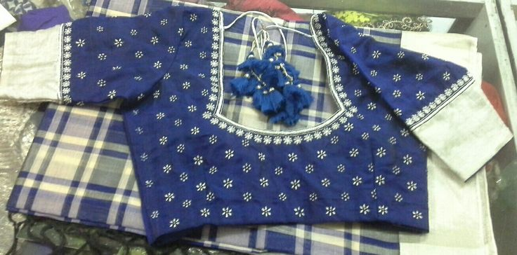 Uppada checks saree with stone and zari work 7702919644