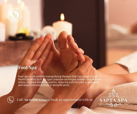 Foot Spa  Foot spa is yet another tranquilizing therapy that has a plethora of health benefits to it. Its spot-pressure technique relieves people from stress, improve blood circulation, reducing arthritic pain & headache, and would stimulate body in detoxification.  Call +91 91009 22544 to book an appointment with us!