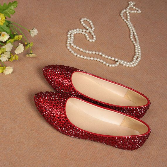 Luxuries Clear Red crystals sparkly wedding Flats Diamond bridal flats bridal custom shoes wedding shoes party flats - 035 on Etsy, £73.43