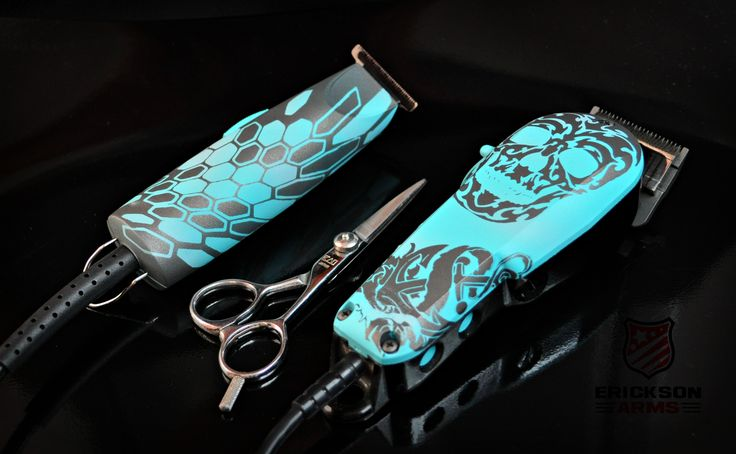 Custom clippers and trimmers  #skulls #barber #stylist #wahl #oster #ericksonarms #anchor #salon