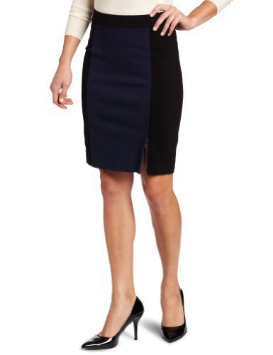 DKNYC Women's Ponte Coloblock Pencil Skirt DKNYC. $26.81. Made in China. Dry Clean Only. The black and navy colorblocking on this pencil skirt is on trend for fall. 65% Viscose/30% Nylon/5% Elastane. This style is sophisticated enough for a day at work and chic to wear out on the town at night