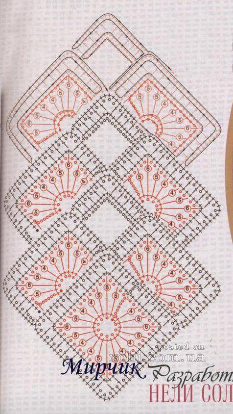 ленточное кружево 4 - схема вязания