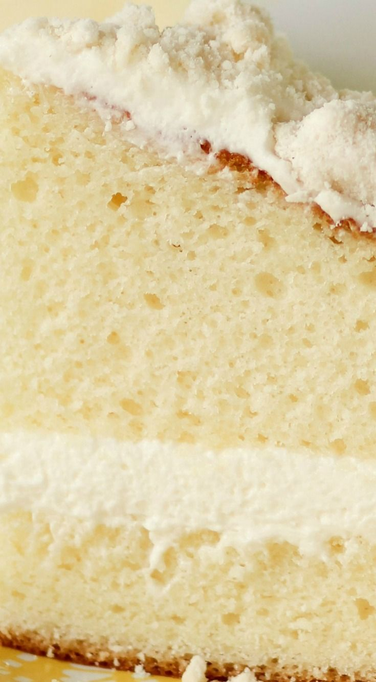 Olive Garden Lemon Cream Cake ~ Fluffy white cake filled with light and creamy lemon cream cheese filling and topped with sweet crumb topping... Light, refreshing and the perfect finish to any meal.