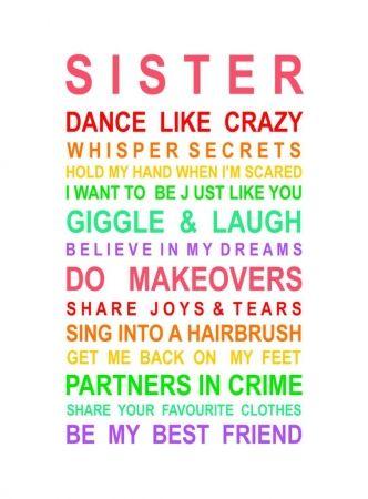 Sister Poster - hardtofind. - for the playroom Almondtreeframes A3 size framed $100