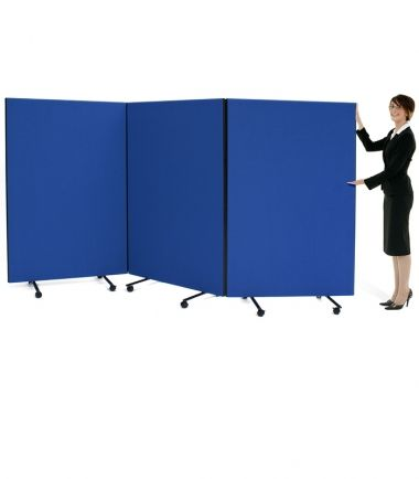 Budget Triple Safety Screens in Royal Blue woven fabric #portable #partition #screen