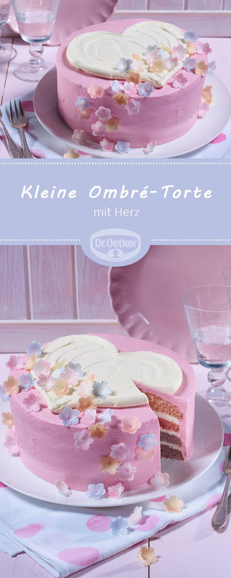 Kleine Ombré-Torte mit Herz: Rührteigböden gefüllt mit Duo-Tortencreme und mit einer Herz-Dekoration