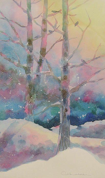 winter tree painting  pastels