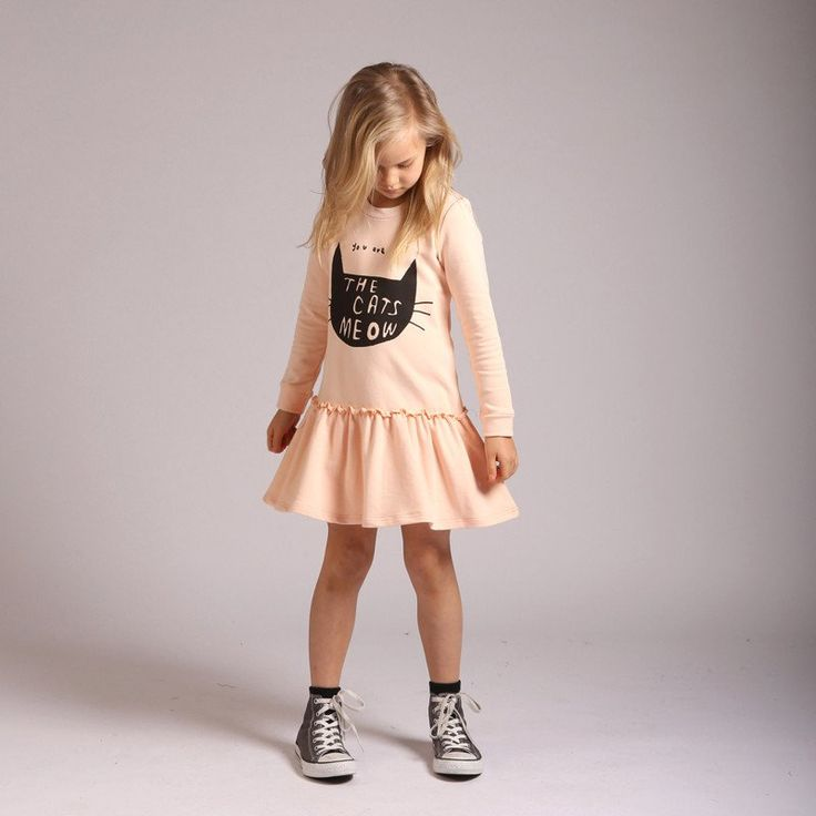 Littlehorn Cats Meow Sweater Dress in Peach