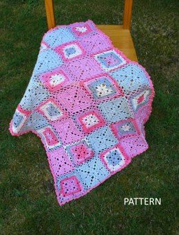 Patchwork Baby Blanket – PB-102 – A crochet pattern from Nancy Brown-Designer. A fanciful baby blanket crocheted in motifs that start in the center with a cute little flower and joined together as you work. The blanket is finished with a small border of shell stitches and picots. This pattern PDF can be purchased at my LoveCrochet Pattern Store for $3.99, just click on the photo.