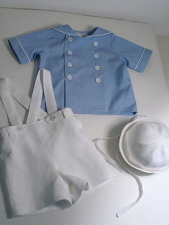 Patricia Smith Designs - Blue and white Sailor Shirt, Linen Shorts and Sailor Hat