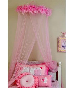 @Overstock - Create a dreamy look that is fit for a princess with this girl's pink bed net canopy that features a fun design that is accented by a faux-feather boa. This easy-to-install 100 percent polyester canopy comes with a hanging hoop and hardware.http://www.overstock.com/Bedding-Bath/Feather-Boa-Mosquito-Net-Canopy/2066347/product.html?CID=214117 $29.99
