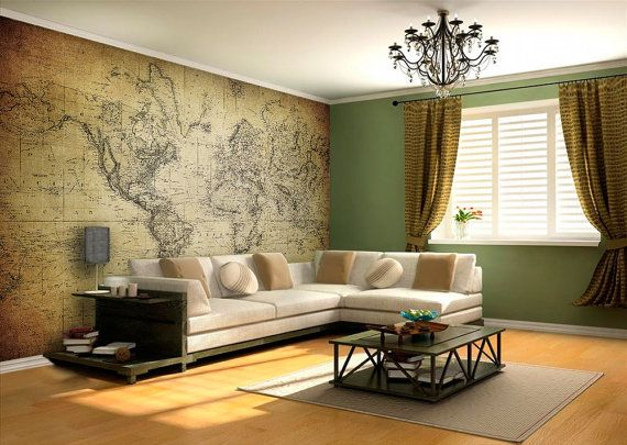 World Map - Vintage - Wall Mural - world map wall art - Adhesive Fabric - Self-Adhesive Wall Covering - decal - Peel And Stick