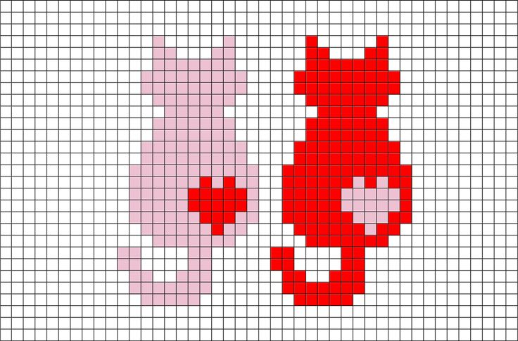 Cats Pixel Art from BrikBook.com #Cats #Love #Animal #Cute #Couple #pixel…