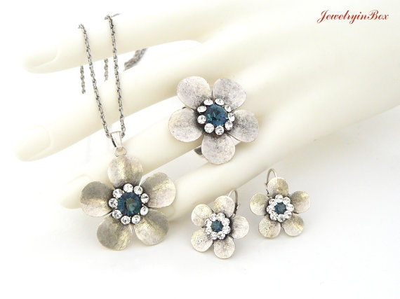 Ring Earrings Necklace with White Dark Blue by JewelryinBox, $49.00