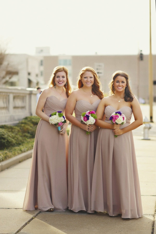 long, neutral, light, formal bridesmaids dresses by Allure style 1221 in mocha /// Photography by melissamccrotty.com/, Floral   Event Design by finishingtoucheventdesign.net