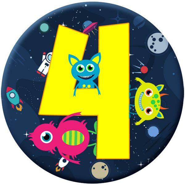 Monster 4 Age Birthday Badge for Kids #905