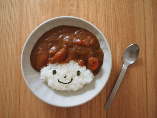 curry & rice w/ seaweed face