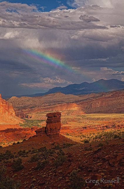 Canyon Country Rainbow by alpenglowimages, via Flickr; Fruita Oasis, Capitol Reef National Park, Utah