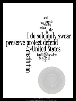 FREE-Presidential Inauguration Oath of Office Poster...Elections - Voting, Government, U.S. History 4th, 5th, 6th, 7th, 8th, 9th, 10th, 11th, 12th Fun Stuff, Printables, Posters Fun word art poster of the US Presidential Oath of Office and the Seal of the President. Letter sized. Print, laminate, and hang in your room!