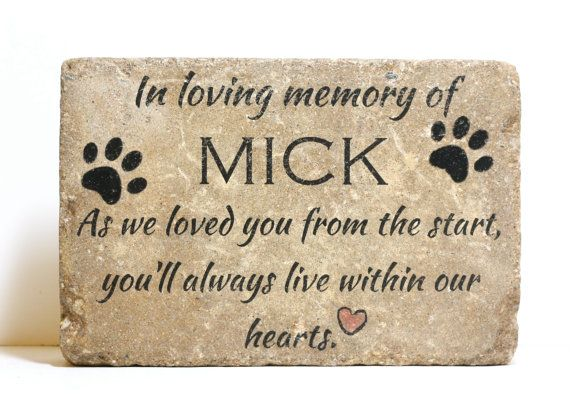 A CUSTOM Pet Memorial Stone. The name MICK will be replaced with the name of your beloved pet. Beautiful, rustic and simple, this stone is FULLY CUSTOMIZED. Click to see the entire PET MEMORIAL SECTION: http://etsy.me/1F4CidW HOW TO ORDER: At checkout, choose NAME CHANGE ONLY if you