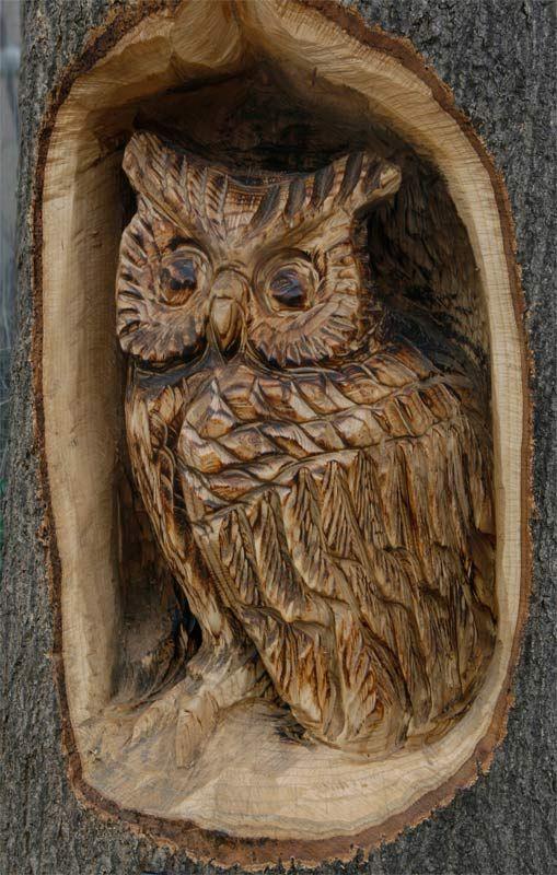 Carved tree owl