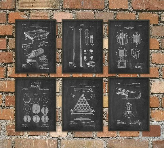 Billiards Patent Prints Set Of 6 - Billiard Inventions - Billiards Wall Art Poster - Billiards Room Patent - Pool Room Patent Poster