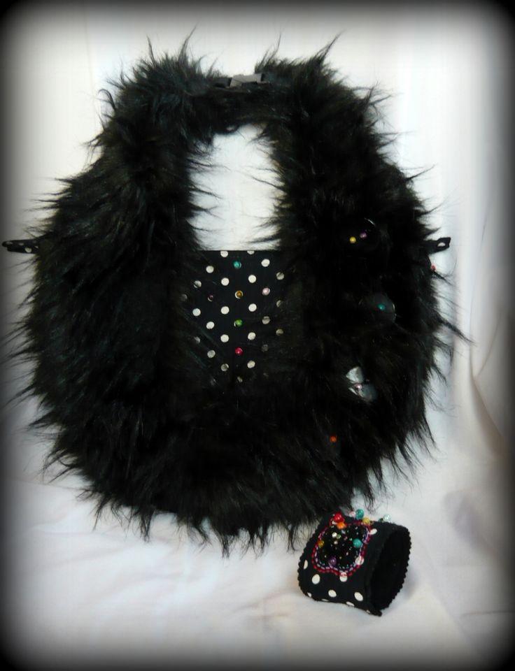 Handmade by Judy Majoros- Black -white Polka dots handbag 2in1. Crossbady bag. Faux fur bag.Beaded handbag. Recycled bag