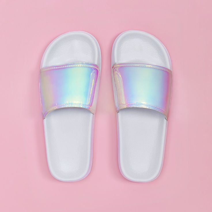 STYLE: iridescent - Description - WHAT'S MY SIZE? sliiiide through the dm's (or pool parties) likeee...these cuties by slydes will be your summer go-to shoe. wear them with your favorite pineapple soc