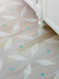 DIY:  Stenciled Floor - learn how to stencil a floor.  The stencil is free to download on this link.