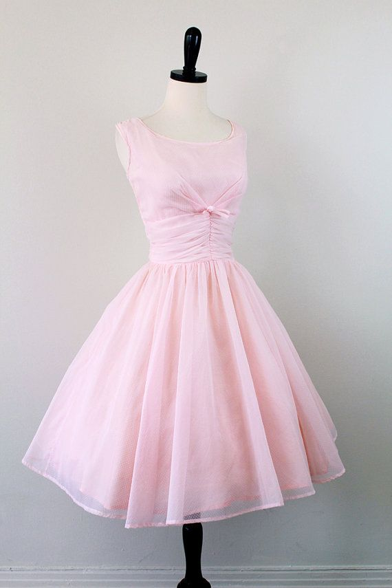 r e s e r v e d - vintage 1950s 50s dress // Powder Pink Ballerina Cupcake Dress with Tiny Polkadots and a Bow
