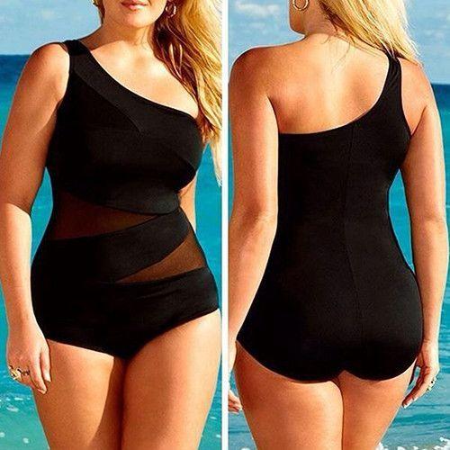 Women's Sexy Plus Size Swimsuit Siamese Shoulder Monokini One Piece Swimwear
