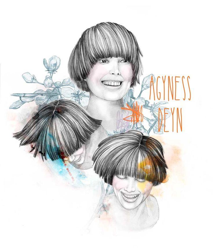 Agyness Deyn, illustration by Mia Valgren