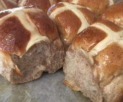 Hot cross buns (sub sultanas with apple chunks)