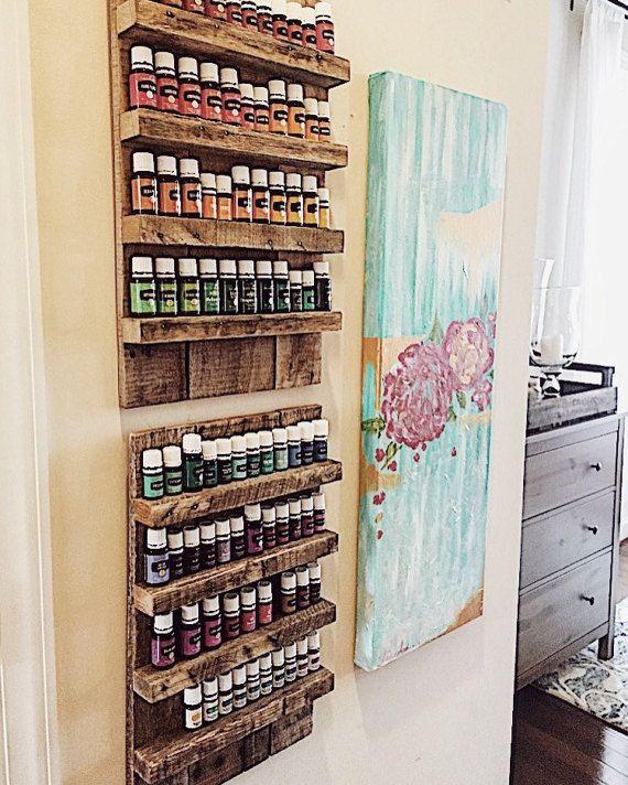 Essential Oil Storage// Reclaimed Wood// Essential Oil Shelf Organizer// Pallet Wood Shelf// Pallet Art// Reclaimed Wood Shelf by FernwehReclaimedWood