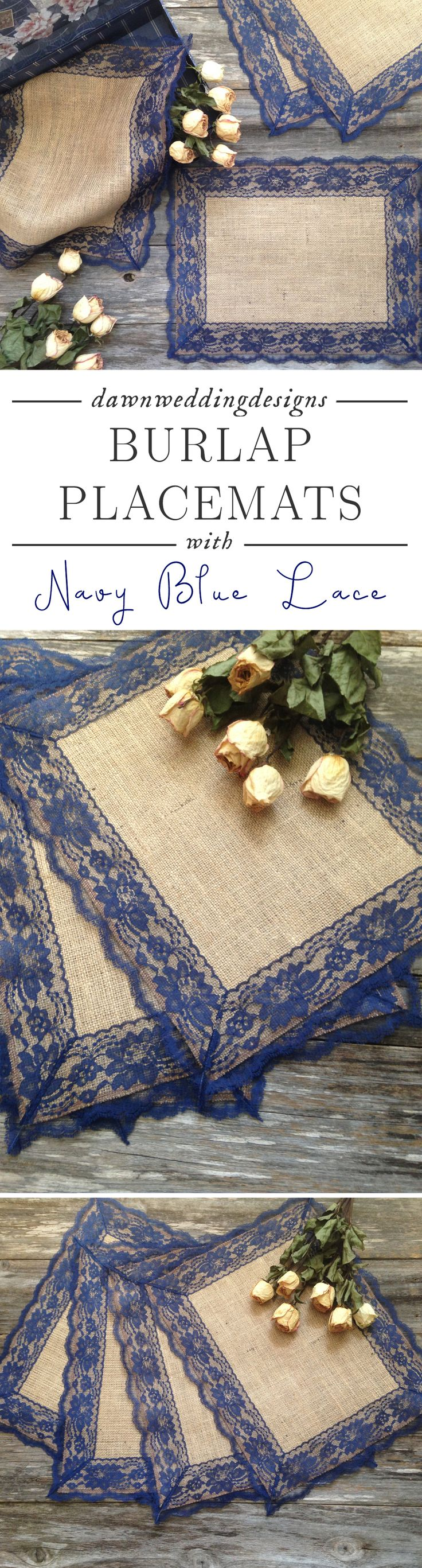 Rustic Navy Blue Wedding Décor - Rustic Placemats - Burlap and NAVY / DARK BLUE Lace, Wedding Placemat, Rustic Country Wedding, Country Home Decor, French Country Cottage