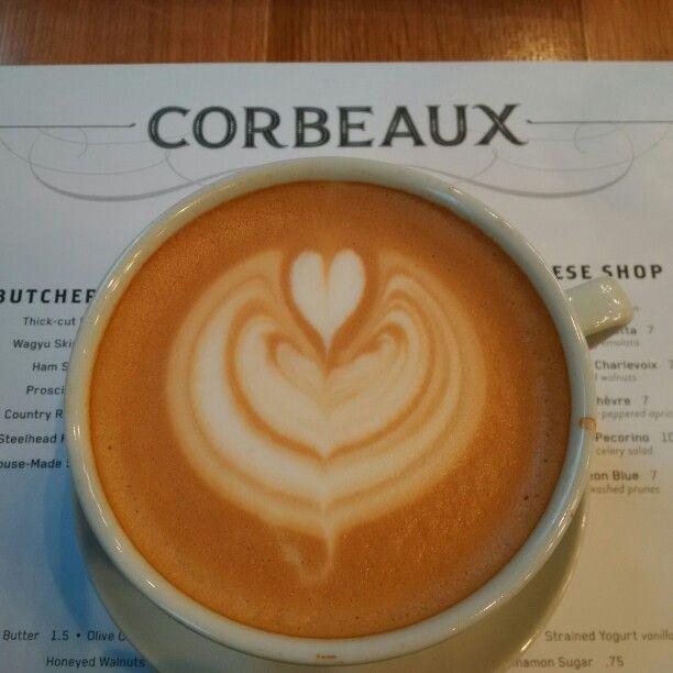 Love my morning latte @CorbeauxBake #YYC. Delicious!