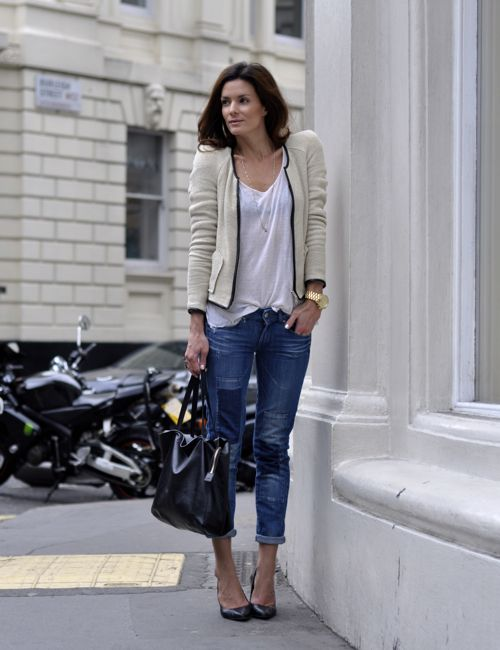 Casual + chic.: Casual Outfit, Parisians Chic, Skinny Jeans, Day Outfit, Street Style, Jackets, Boyfriends Jeans, Blazers, Cute Outfit