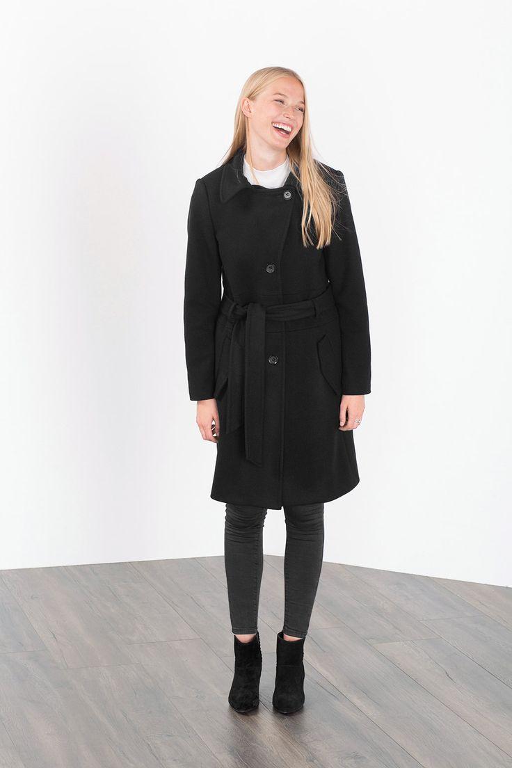 Esprit / Frakke i trenchcoat-snit af ren ny uld