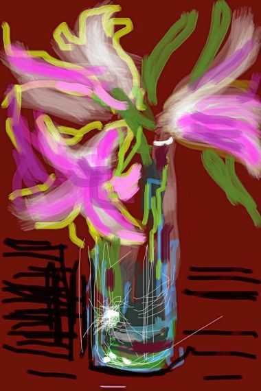 """David Hockney's delightful """"paintings"""" are made with an iPhone app called Brushes."""