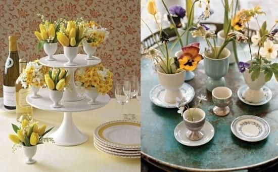egg cup flower arrangements easter - Google Search