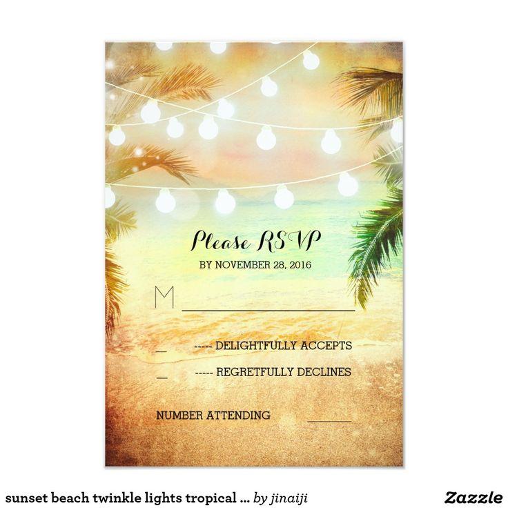 sunset beach twinkle lights tropical wedding RSVP
