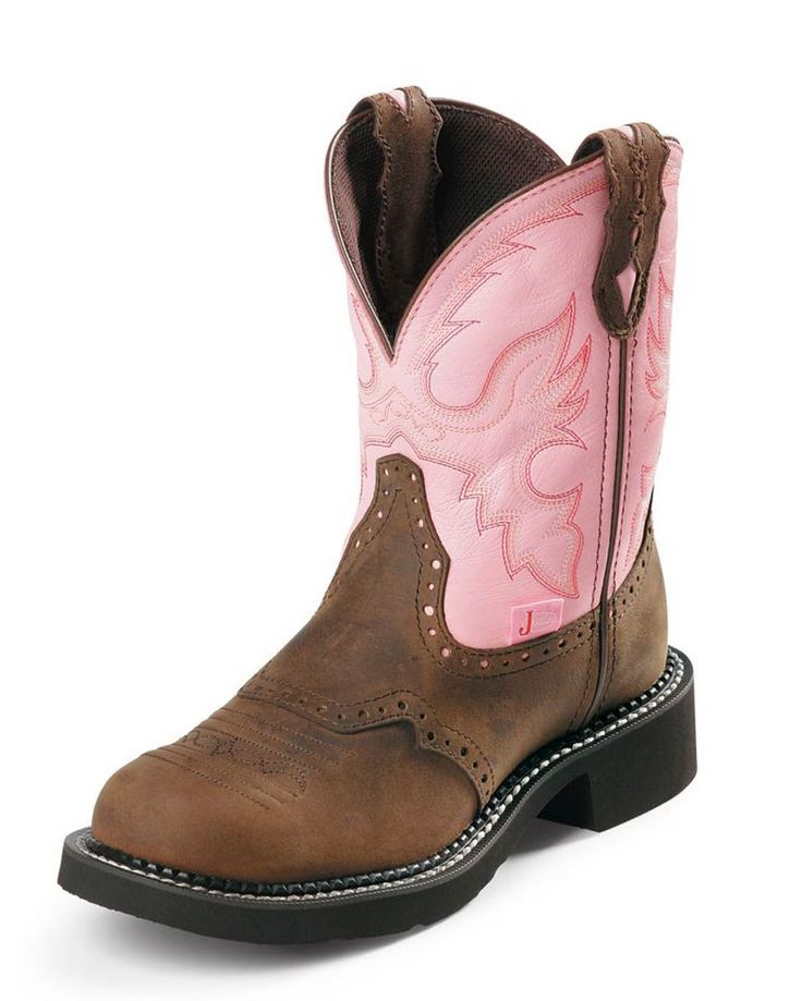 """Justin Women's Bay Apache 8"""" Pink Gypsy Round Steel Toe Boot $80 Really love these and I like the idea of the steel toe"""
