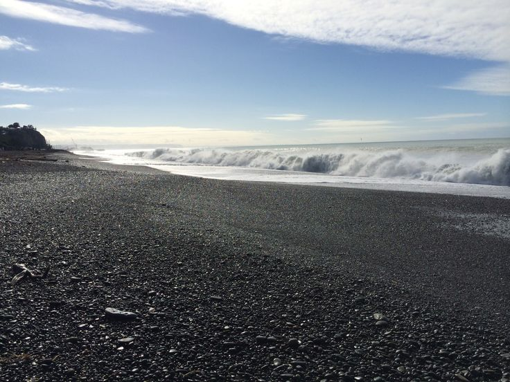 Napier's waterfront on a winters day with a large swell. Hawkes Bay, New Zealand.