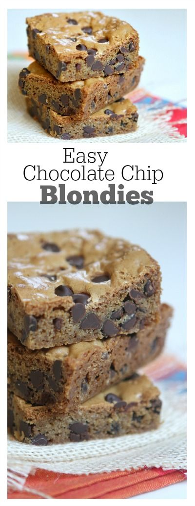 Easy Chocolate Chip Blondies Recipe: the perfect recipe to bake for school lunches or to sell at bake sales.  They're a sturdy but tender and delicious dessert bar!