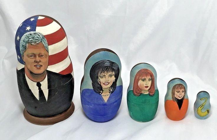 Russian Matryoshka Wooden Nesting Doll President Bill Clinton Political Satire  | eBay