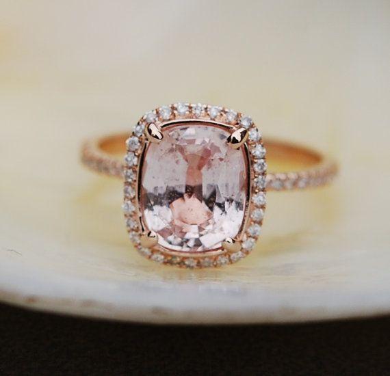 Glace pêche Champagne saphir bague 14k Rose bague de fiançailles diamant or ct 3,31 coussin glace pêche saphir