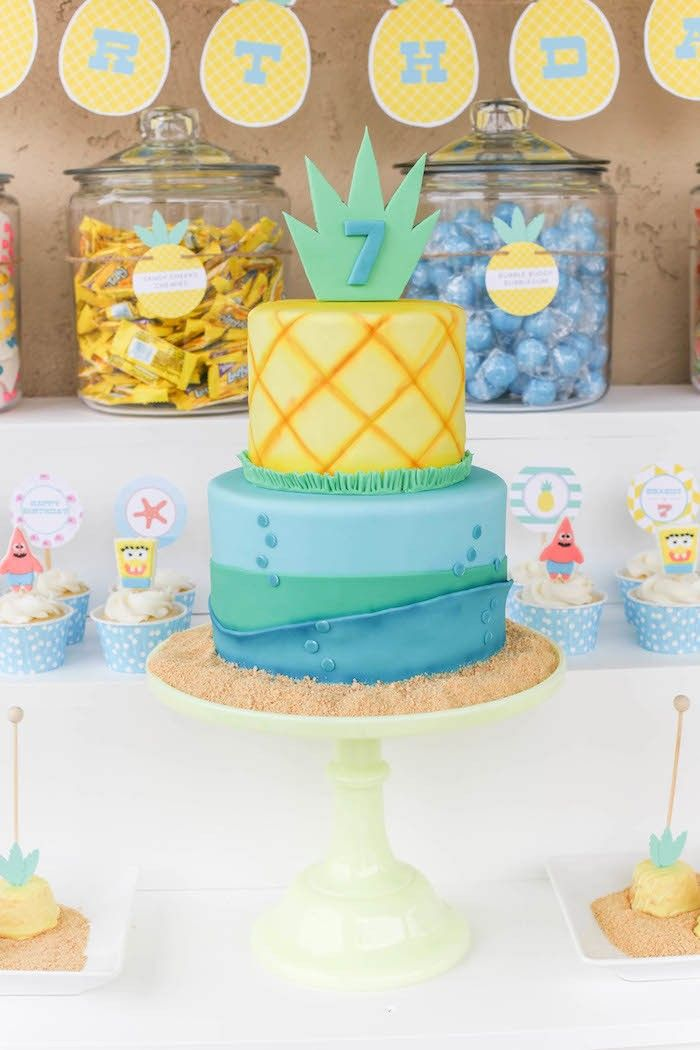 sponge bob birthday cake, ignore the sponge bob part, I just like the idea of a pineapple and a beach on a cake