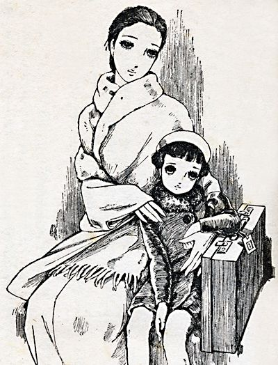中原淳一 Nakahara Junichi / 川端康成「美しい旅」挿絵 for 'Utsukushii Tabi' by Kawabata Yasunari / Shoujo no Tomo, Dec.1939