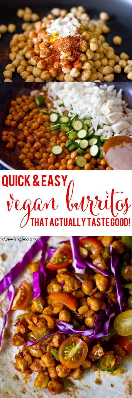 Quick and easy Vegan Burritos that actually taste good- this is the best chickpea burrito recipe I've found!